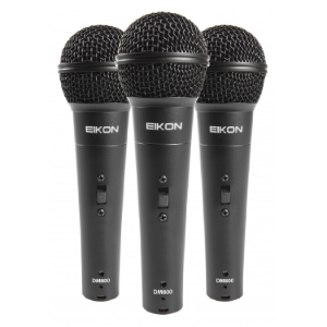 3 x Vocal Dynamic Microphone with 3 x Microphone Holders, ABS Carrying and Storage Case   DM800 KIT proel